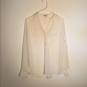 Express Sheer White Shiny Dots Button Up